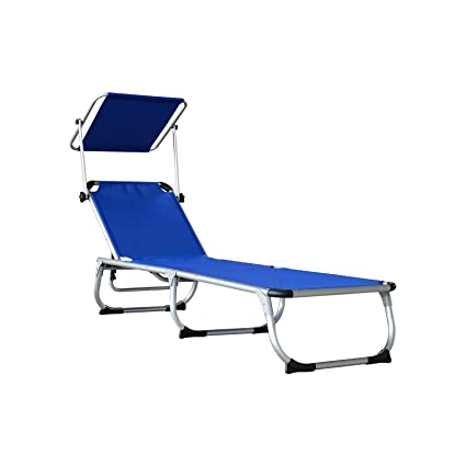 Amazon Com Patio Chaise Lounge Chair With Sun Shade Folding Zero