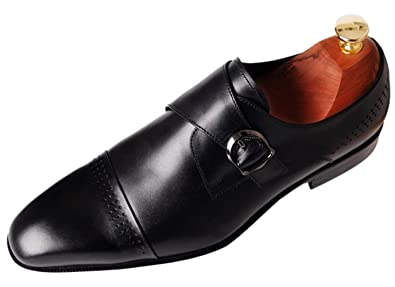 6db7e87289d Santimon Mens Shoes Leather Monk Strap Slip-On Loafer Classic Buckle Cap Toe  Dress Shoes