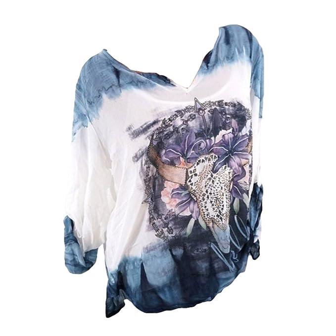 Hibote Tallas Grandes Blusas para Mujer Tops Casual Camisas de Manga Larga V Cuello Túnica Blusas Mujeres Camisas Sueltas: Amazon.es: Ropa y accesorios