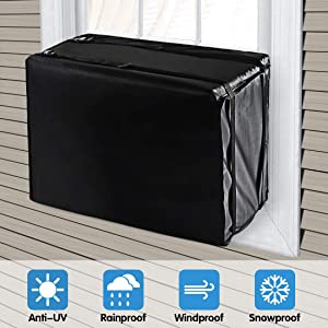 "LadyRosian Window Air Conditioner Cover, Waterproof Winter Outdoor Window Air Conditioner Unit Cover with Adjustable Buckle Straps, Air Conditioner Defender, Bottom Covered, Black, 21.8""W x 15""D x 16"""