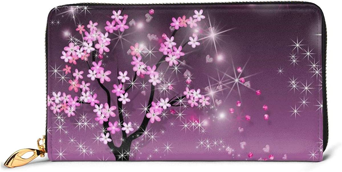 Leather Wallet Sakura Petals Women Men Travel Long Purse Zip Around Clutch Pouch ID Credit Card Coin Wallets