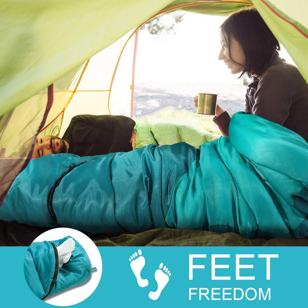 Forceatt Sacco a Pelo Mummia con Cappuccio 4 Stagioni Ideale per Campeggio ed Escursioni. Temp Ideale 0-10/°C Portatile e Leggero Sacco a Pelo Ultraleggero con Sacca di Compressione