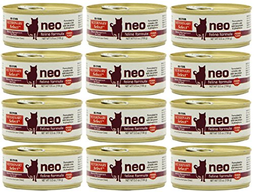 Hi-Tor 12 Pack of Veterinary Select Neo Diet for Cats, 5.5 Ounce Cans, for Kidney ()