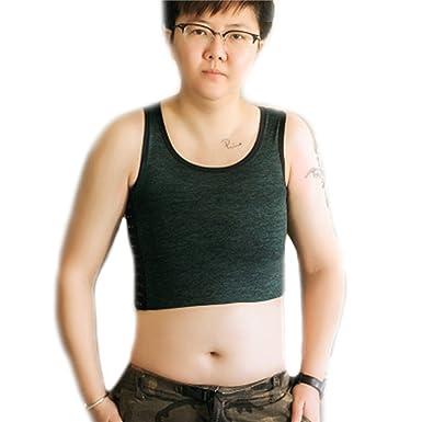10f9bc92d38eb BaronHong Tomboy Trans Lesbian Cotton Chest Binder Plus Size Short Tank Top  with 20 cm Stronger