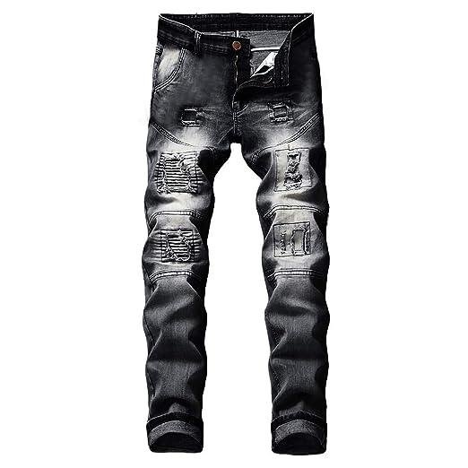 91e951486b30af NUWFOR Men's Stretchy Ripped Skinny Biker Jeans Destroyed Taped Slim Fit  Denim Pants(Black,