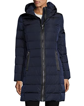a6a156718f6 Diane von Furstenberg CAROLE Hooded Down Quilted Puffer Coat in Navy - Blue  -  Amazon.co.uk  Clothing