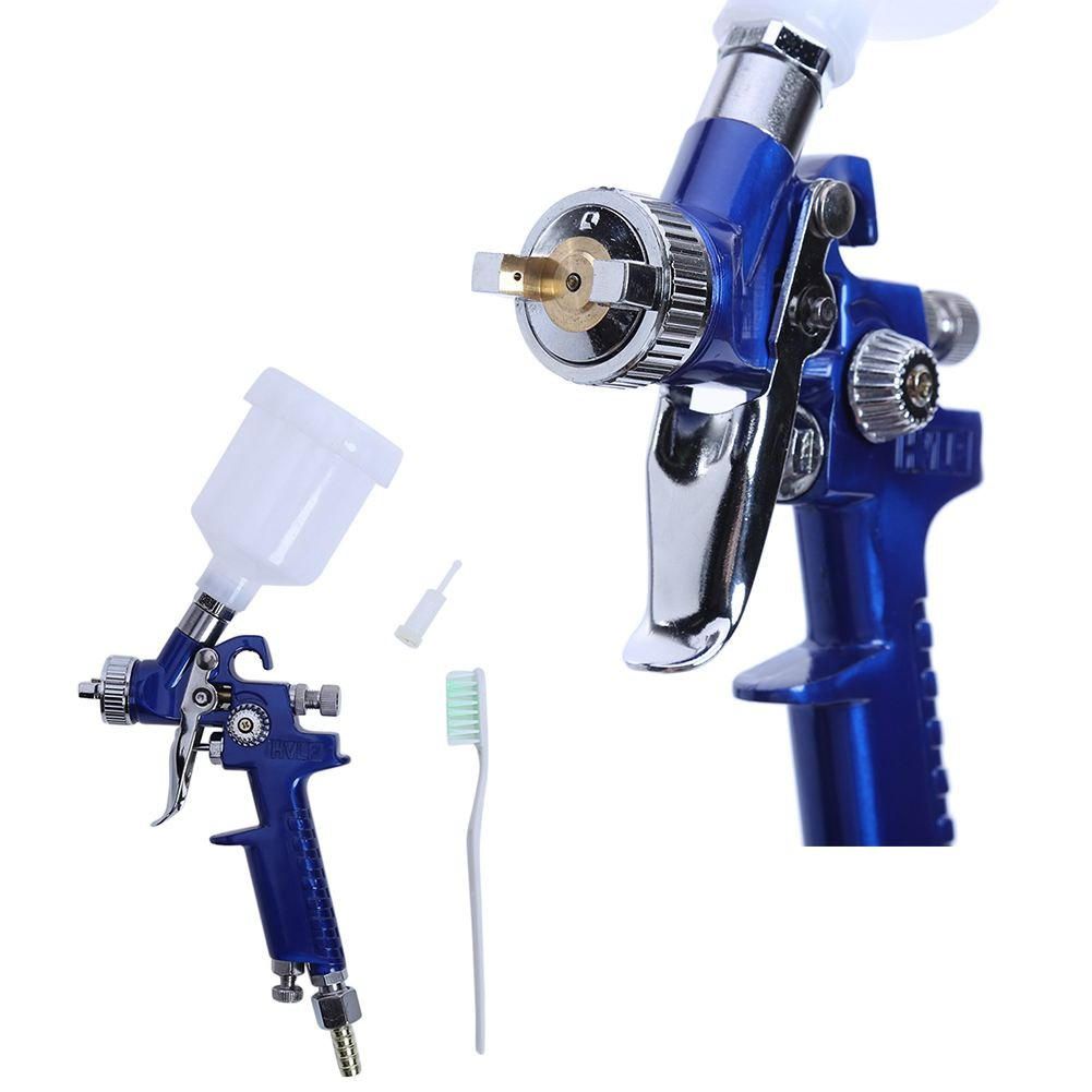 SODIAL 1.0MM Nozzle H-2000 Professional HVLP Spray Gun Mini Air Paint Spray Guns Airbrush For Painting Car Aerograph