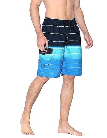 fcf78d8a131 Nonwe Men's Beachwear Quick Dry Holiday Drawstring Striped Beach Shorts  Blue 28