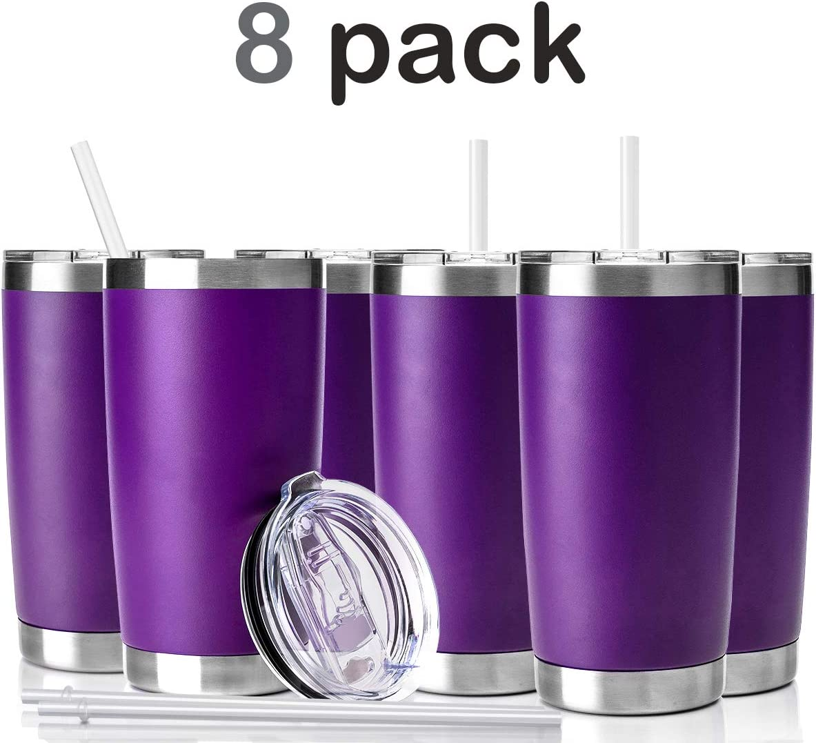 Civago 20oz Tumbler with Lid and Straw, Stainless Steel Vacuum Insulated Coffee Tumbler Cup, Double Wall Powder Coated Travel Mug (Purple, 8 Pack)