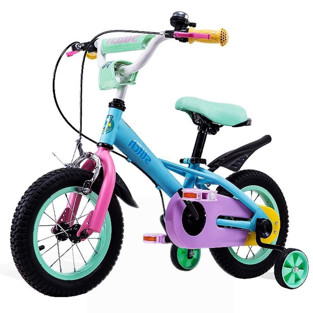 C LXF Bici per Bambini Bicicletta for Bambini 2-10 Anni Bicicletta for Bambina e Ragazzo con Ruota da tuttienamento e Freno a uomoo, assemblata al 95%, Blu Bici per Bambini (Dimensione   A)