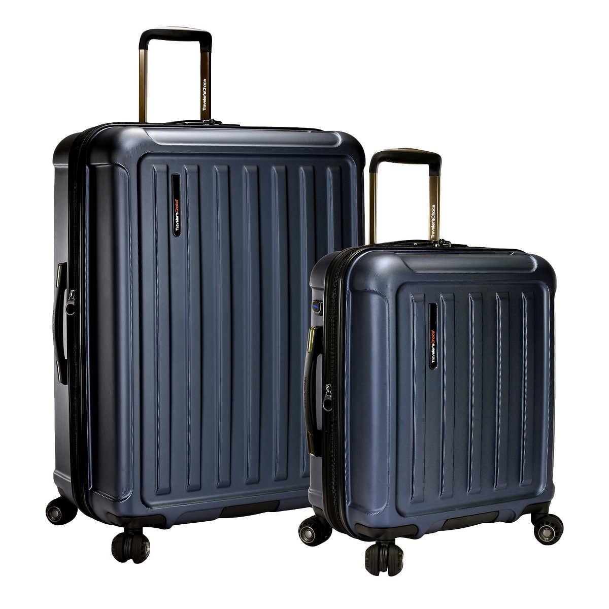 Traveler's Choice The Art of Travel 2-piece Hardside Spinner Set, 29'' & 21'' (Blue)