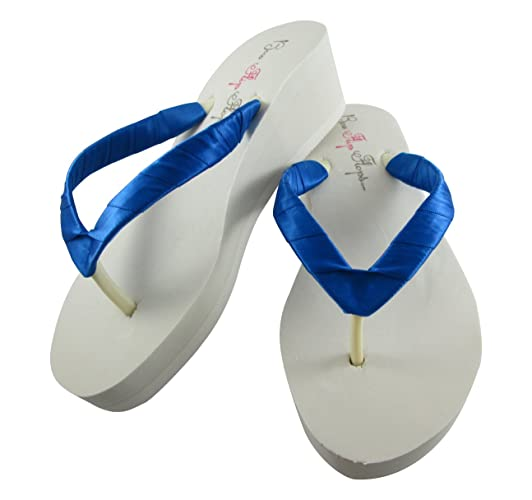 7642780d81ff1 Amazon.com  Royal Blue Flip Flops - Bridal Wedding Shoes - Beach Sandals   Handmade