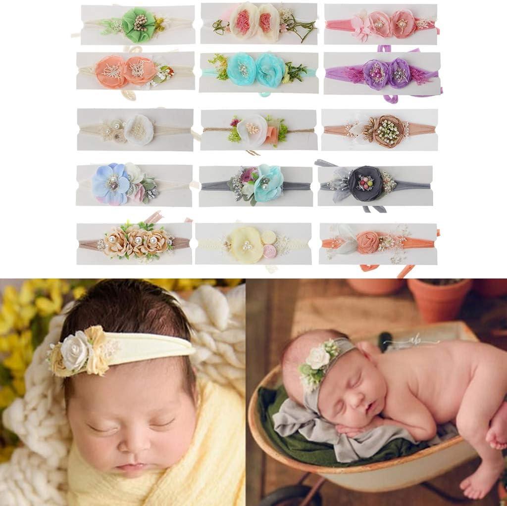VIccoo Baby-Fotografie-Kopfbedeckungen 16 2019 geboren Fotografie Requisiten Baby Floral Haarschmuck Infant Shooting Stirnband Baby Jungen M/ädchen Foto Requisiten