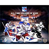 Mike Richter/Henrik Lundqvist/Eddie Giacomin Triple Signed Rangers All Time Wins Leaders 8x10 Collage Photo (Signed in Black)