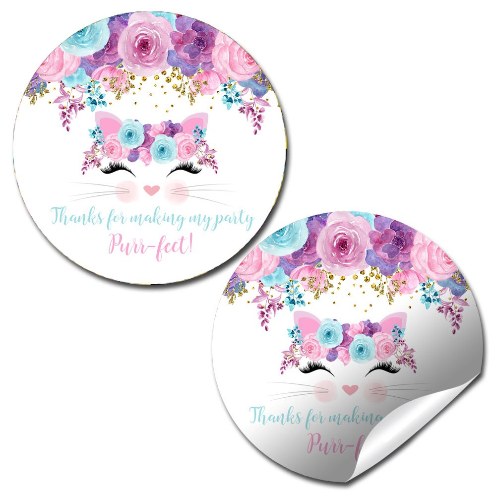 Watercolor Floral Kitty Cat Face Birthday Party Sticker Labels, 20 2'' Party Circle Stickers by AmandaCreation, Great for Party Favors, Envelope Seals & Goodie Bags