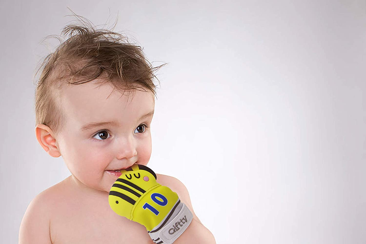 Zebra Yellow, 2 Mittens Baby Teething Mitten Teether Mitten Teething Glove for Infant Zebra Soothing Teether Toy