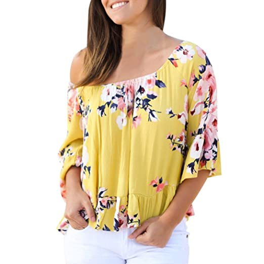 cfbce4fc1fecb YANG-YI Clearance, Hot Summer Women Off Shoulder Flare Sleeve Strapless Tops  Casual Blouse Shirt at Amazon Women's Clothing store:
