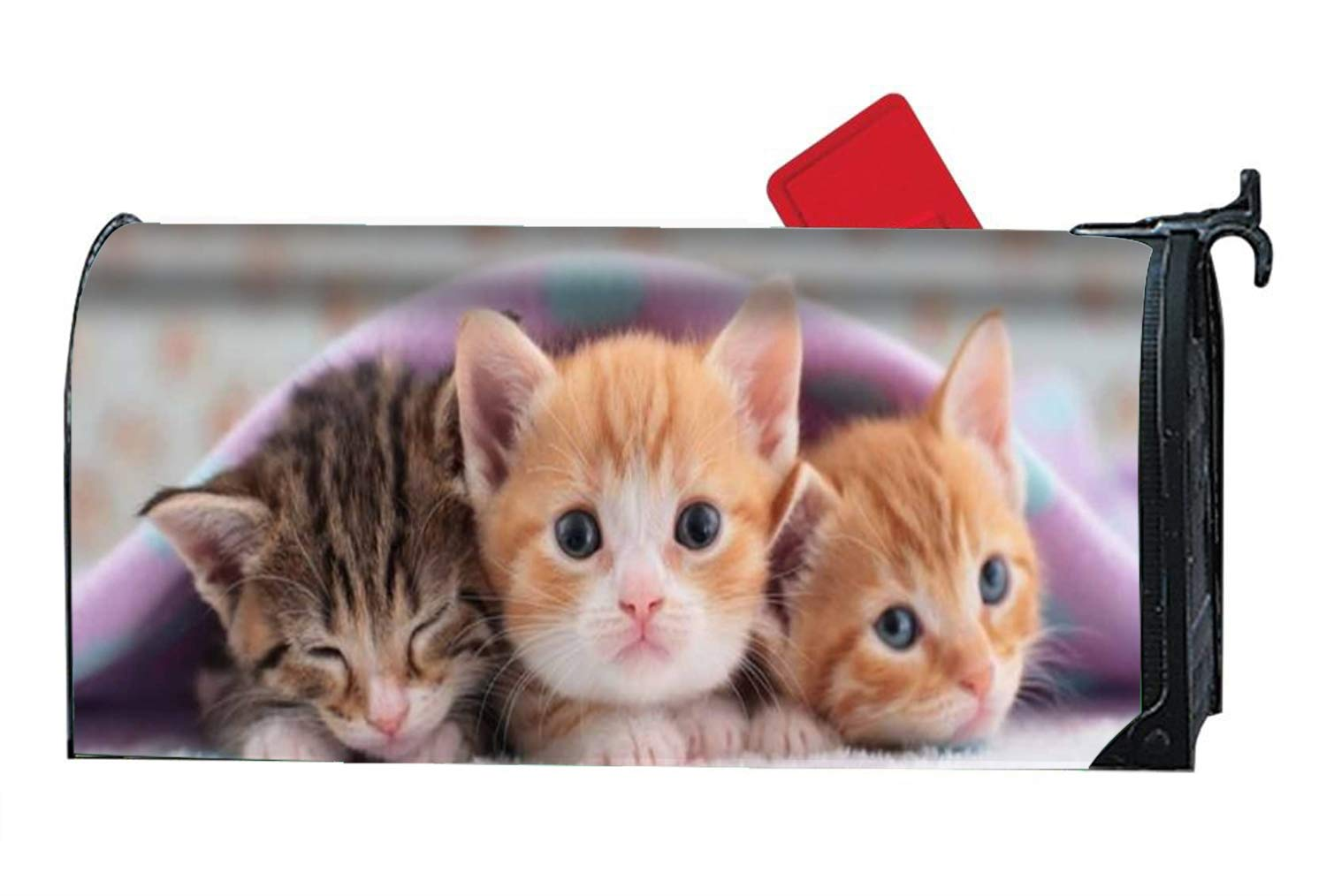 BABBY 9X21 Magnetic Mailbox Cover Standard Mailbox Wrap with Three Little Orange Cats Design