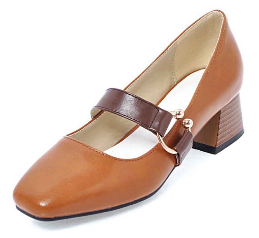 Aisun Women's Trendy Comfort Block Mid Heel Low Cut Dressy Square Toe Slip On Ankle Strap Pumps Shoes (Brown, 9.5 B(M) US)