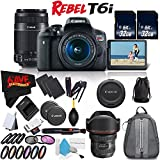 6Ave Canon EOS Rebel T6i DSLR Camera w/18-55mm Lens International Version (No Warranty) + Canon 55-250mm IS STM Lens + Canon EF 11-24mm f/4L USM Lens 9520B002 + Deluxe Cleaning Kit Bundle