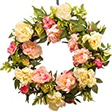 PINK CREAM PEONY WREATH (SW955) - Spring Wreath - Summer Wreath - Everyday Wreath