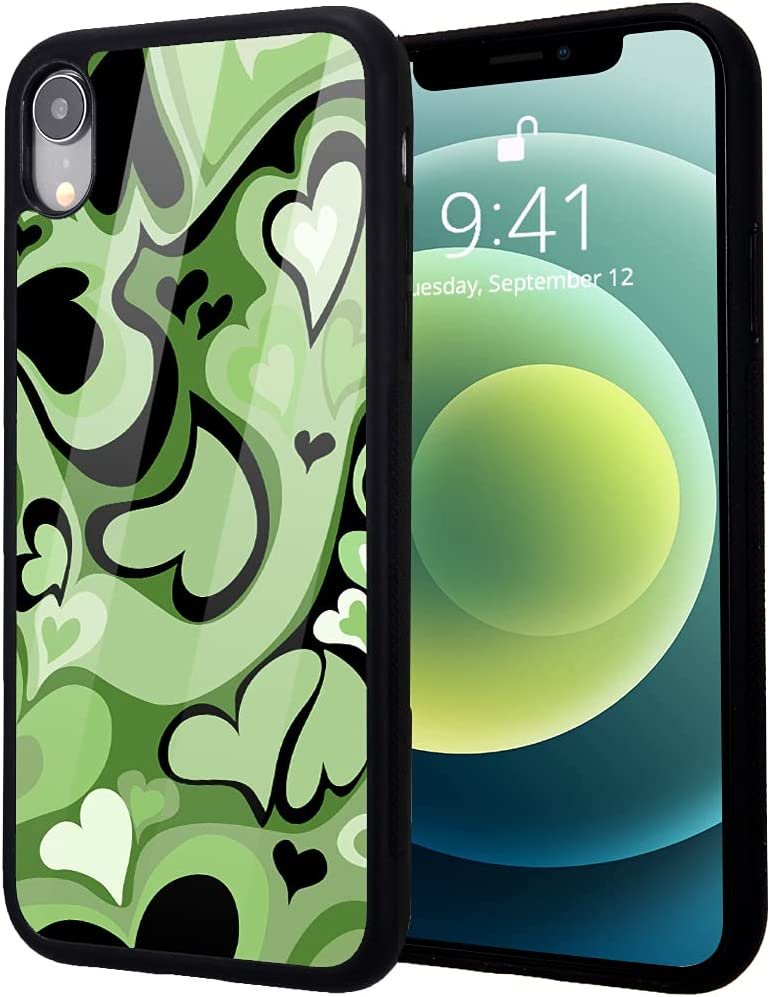 idocolors Green Love Heart Printed Cases for iPhone XR,Cute Soft TPU Hard Back Shatter-Resistant Shockproof Anti-Fall Protective Girly Painting Art Cover Case for iPhone XR