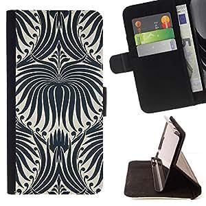 For HTC Desire 626 626w 626d 626g 626G dual sim Case , Modelo blanco Wallpaper Negro floral- la tarjeta de Crédito Slots PU Funda de cuero Monedero caso cubierta de piel