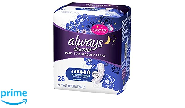 Amazon.com: Always Discreet for Bladder Leaks, Ultimate Overnight, Long Length, 28 Pads: Health & Personal Care
