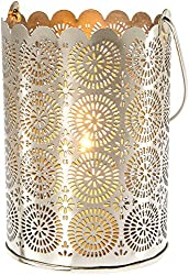 Shadow Lantern Candle Holder (5.5-Inch, Sunburst Design, Punched Tin) - For Home Decor, Parties, and Wedding Decorations