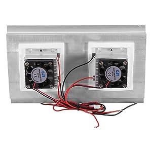 Northbear Thermoelectric Peltier Refrigeration Cooling Cooler Fan System Heatsink Kit Cooler (2 Fan) (Color: 2 Fan)