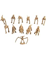 HOMYL Plastic Dinosaur Skeleton Assorted Dinosaur Model Figures Kids Party Favors Toy 12Pcs/Pack Brown