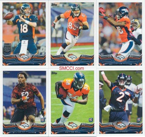 Denver Broncos 2013 Topps NFL Football Complete Regular Issue 17 Card Team Set featuring Peyton Manning -