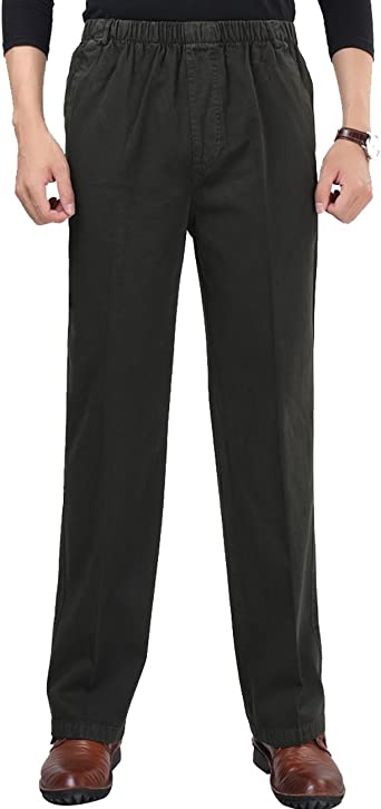Mens Waist Elastic Loose Stretch Work Trousers Straight Casual Business Pants