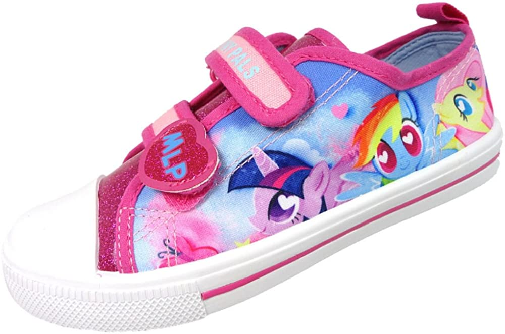 Girls MLP My Little Pony Pink Glitter Hook and Loop Trainers UK Sizes 6-12