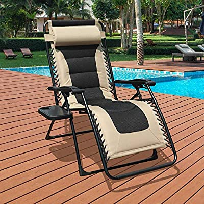 GOLDSUN Oversized Padded Zero Gravity Reclining Chair Adjustable Patio Lounge Chair with Cup Holder for Outdoor Beach Porch,Swimming Pool