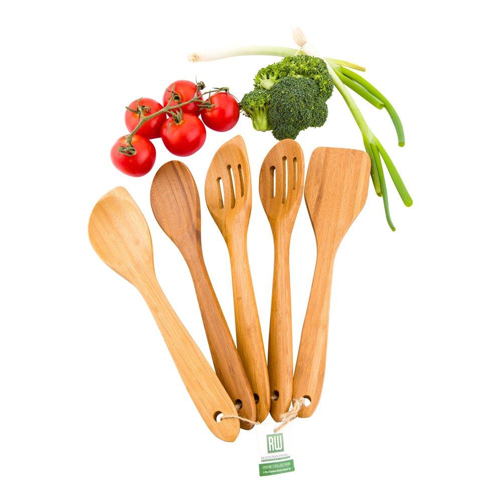 Wooden Kitchen Utensil Set, Wood Utensil Set - 5 Piece - 12'' - 1ct Box - Restaurantware