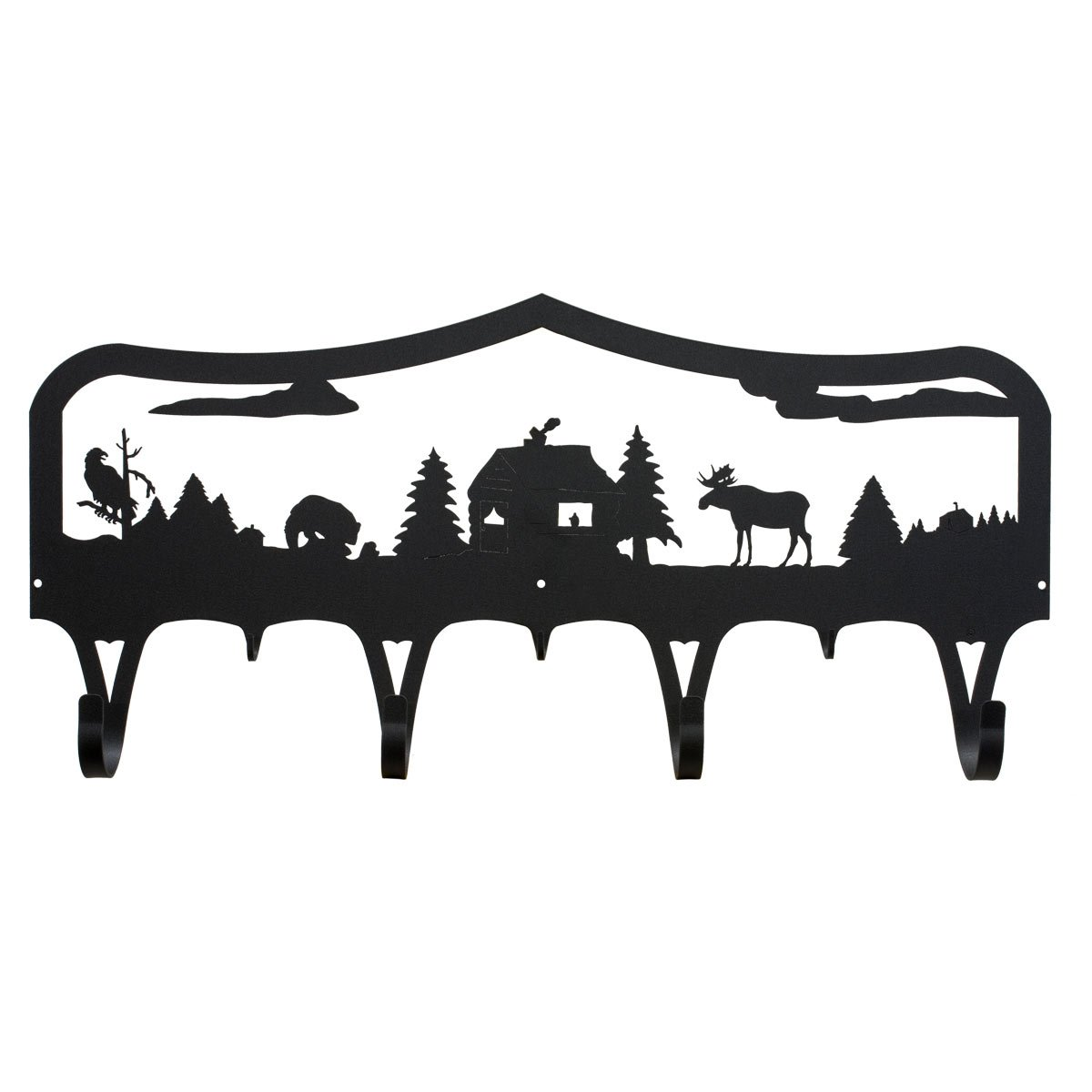 Wilderness Lodge Coat Hooks with Cabin, Moose, Bear and Eagle - Wall Mount - 34''
