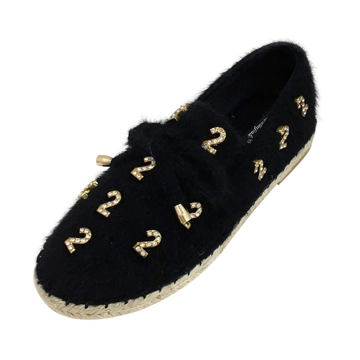 HBDLH Damenschuhe Einzelne Schuhe Runden Kopf Samt Diamond Flachen Boden Faul Schuhe Schwarz 39