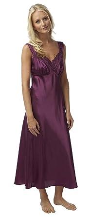 05078735be Ladies Charmeuse Satin Nightdress Nightie Long Strappy Plum Size 10 ...