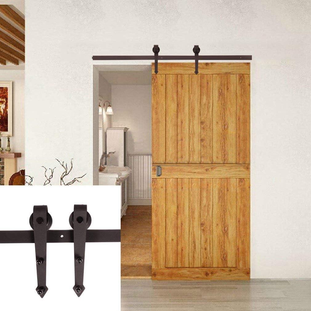 Homgrace 6FT-183cm Kit de puerta corrediza, Rails, puerta corredera suspendida, sistema de puerta corredera, puerta corredera, conjunto Industrial para puerta colgante, Café, ZK533302
