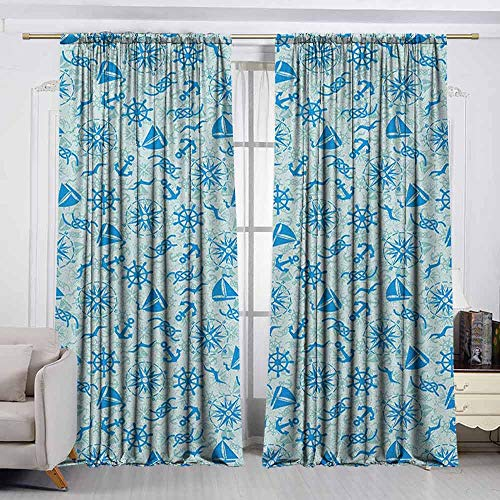 VIVIDX Rod Pocket Curtains,Compass,Various Nautical Icons with Seagulls Anchor Sailor Knot and Helm Sailor Theme,Thermal Insulated Light Blocking Drapes for Bedroom,W63x72L Inches Mint Green -