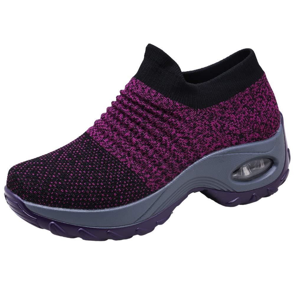 e850c153a94a59 Chaussure de Course pour Femme Baskets de Running Fitness Sport Air  Respirant Mesh Chaussette Femme Sneakers Outdoors Jogging Formateurs Noir  Gris Violet ...