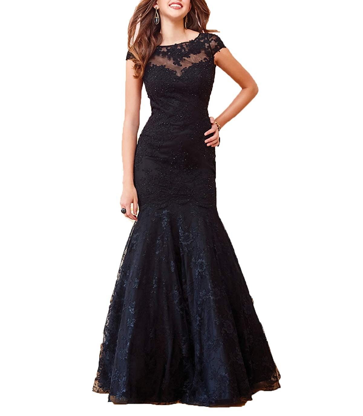 Black Wanshaqin Cap Sleeve Lace Mermaid Prom Formal Dresses Evening Cocktail Dress Bridesmaid Gowns for Events Party