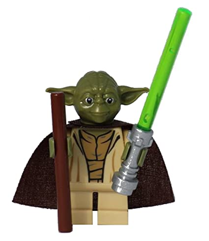 amazon com lego star wars yoda minifig with stick and custom cape