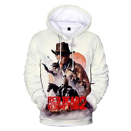 JFRRFJ Fashion 3D Sudaderas con Capucha Estampada suéter Red Dead Juego de Sudaderas con Capucha con
