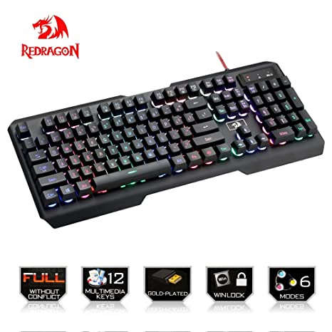 Amazon.com: Redragon K506 Centaur 7-Color Rainbow Backlit Full-Size Gaming Keyboard With Numeric Keypad (Black): Computers & Accessories