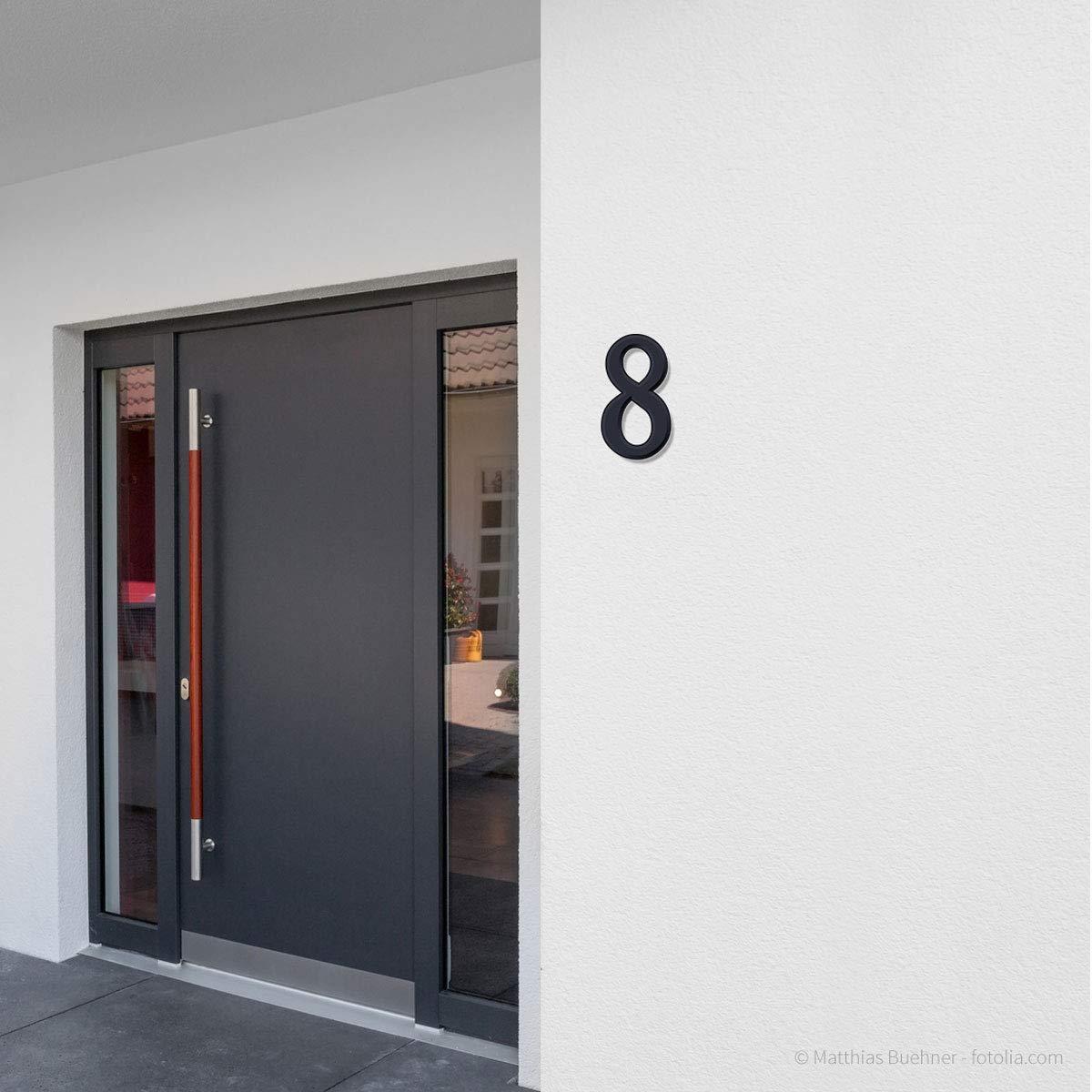 5 anthrazit pulverbeschichtet Thorwa/® verschn/örkelte Design Edelstahl Hausnummer Cabaletta Stil RAL 7016 H: 200mm