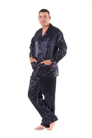 Soft Dreams Mens Brushed Back Satin Pajamas at Amazon Mens Clothing