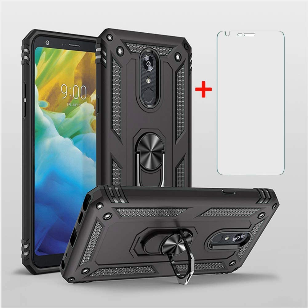 Phone Case for LG Stylo 5 Cases with Tempered Glass Screen Protector Ring Holder Stand Stylo5 Shockproof Back Cover Black