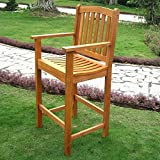 International Caravan TT-BC-003-2CH-IC Furniture Piece Royal Tahiti Wood Set of Two Bar Height Arm Chair For Sale